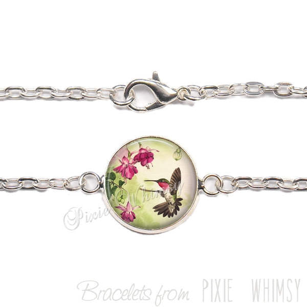 HUMMINGBIRD Bracelet, Humming Bird Link Bracelet Jewelry, Gift for Mother's Day Bird Lover Birdwatcher, Nature Jewelry, Silver or Bronze