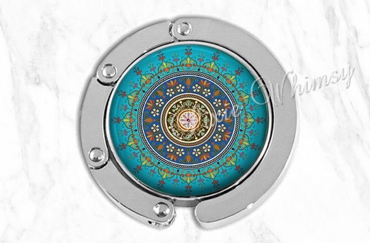MANDALA Purse Hook, Purse Hanger, Purse Holder, Bag Hook, Purse Accessory, Handbag Hanger, Diaper Tote Bag Hanger, Aqua Turqouise Mandala
