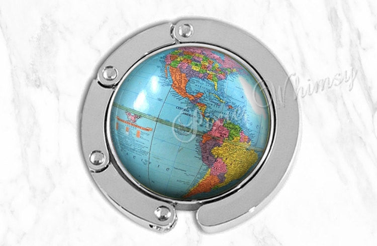 GLOBE Purse Hook, Vintage World Map Globe Purse Hanger, Purse Holder, Bag Hook, Purse Accessory Handbag Hanger, Diaper Tote Bag Hanger Earth