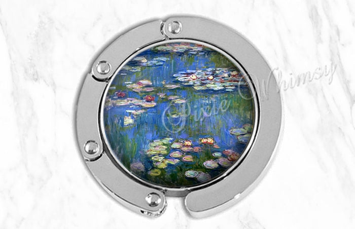 MONET WATERLILIES Purse Hook Hanger Holder, Water Lily Bag Hook, Flower Purse Accessory Handbag Tote Bag Hanger Bridesmaid Gift Party Favor