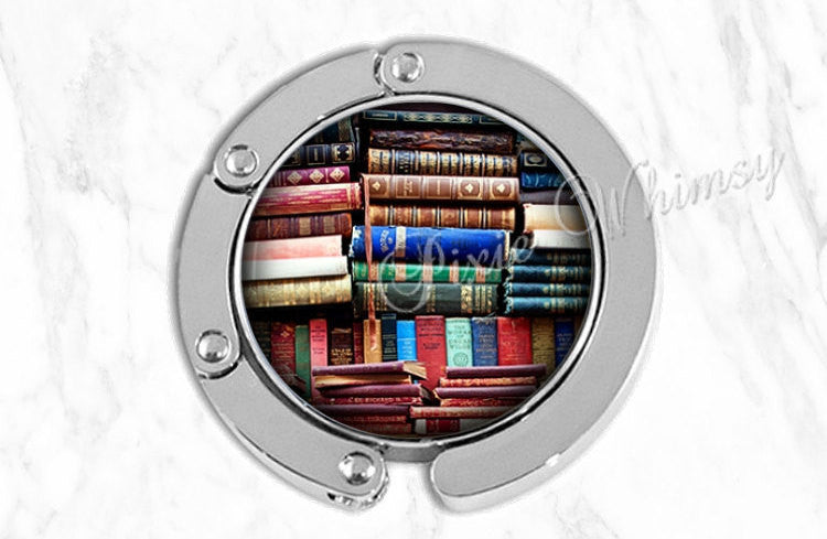 BOOK Purse Hanger Hook Holder, Bag Hook, Purse Accessory, Handbag Tote Bag Hanger, Bookshelf Reading Library Gift for Librarian