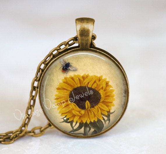 SUNFLOWER BEE Pendant Necklace Jewelry Honey Bee Glass Bezel Art Pendant Necklace, Vintage Sunflower Art Beekeeping Insect Botanical Jewelry