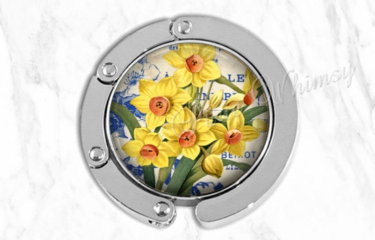 DAFFODIL Purse Hook Tabletop Purse Hanger Flower Art Purse Holder Bag Hook Accessory Handbag Tote Hanger Valentine Gardener Gift