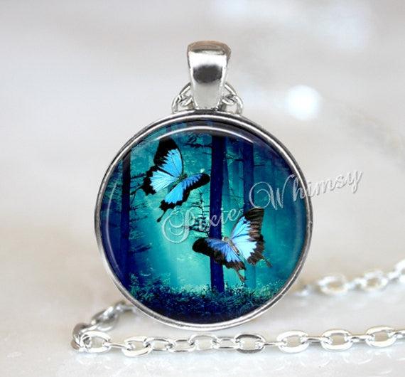 BUTTERFLY Pendant Necklace Jewelry Keychain, Swallowtail Blue Butterflies Insect Moth Jewelry Forest Woodland Trees Blue Turquoise Aqua
