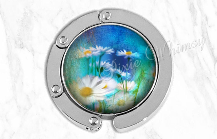 DAISY Purse Hook Tabletop Purse Hanger Watercolor Daisies Flower Art Purse Holder Bag Hook Accessory Handbag Tote Hanger Valentine Gift