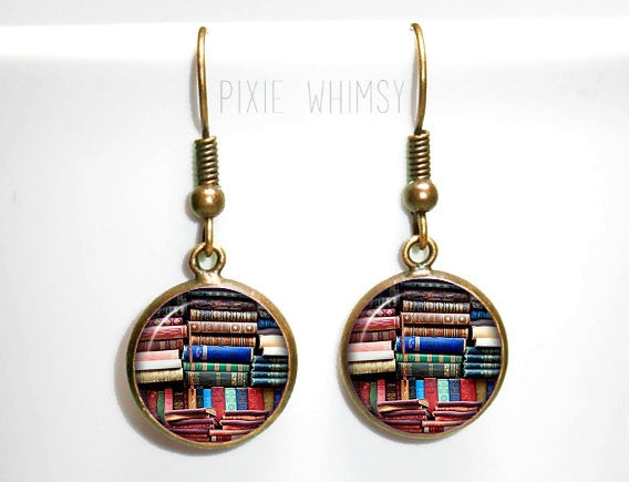 BOOK Earrings, Book Dangle Drop Earrings Vintage Antique Books Glass Photo Art Literary Jewelry Bookshelf Library Librarian Bibliophile Gift
