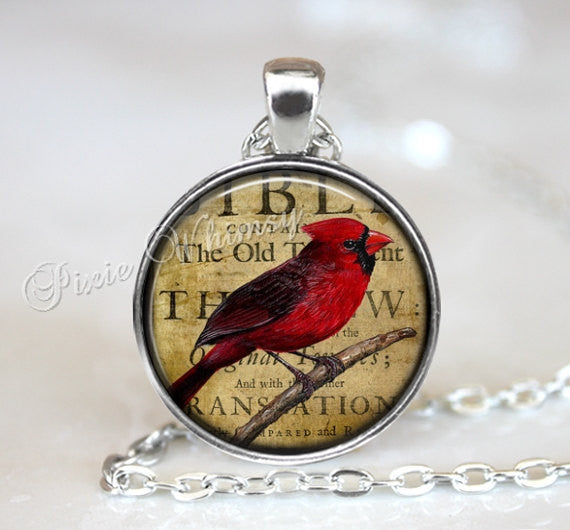 CARDINAL Jewelry, Cardinal Pendant Necklace, Vintage Cardinal Art Keychain Keyring, Red Bird, Gift for Birdwatcher Bird Lover Ornithologist
