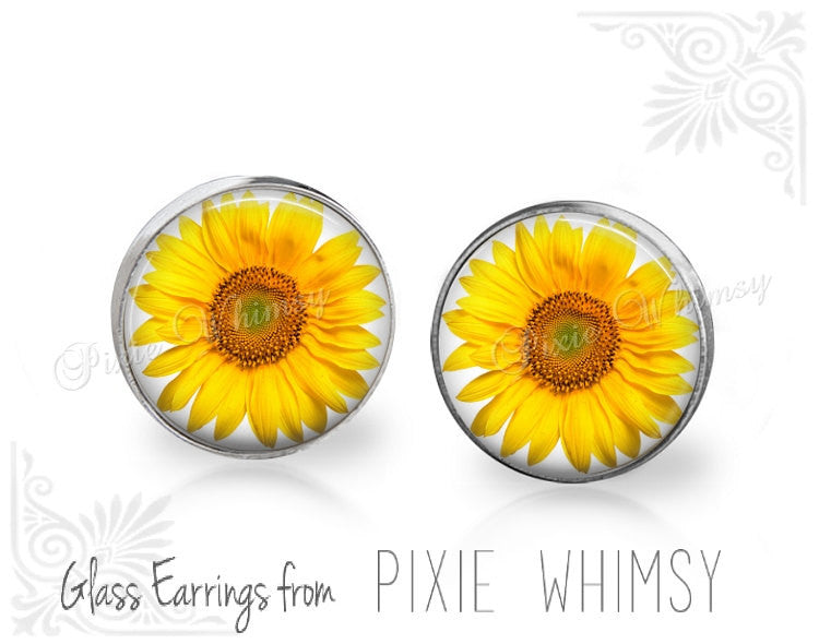 SUNFLOWER Earrings, Sunflower Stud Post Earrings, Yellow Floral Flower Art Pierced Earrings, Botanical Nature Garden Art, Gift for Gardener