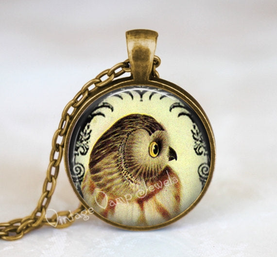 OWL Pendant Necklace, Cute Owl Jewelry, Peeking Owl Charm, Owl Bird Pendant, Vintage Owl, Nature Woodland Jewelry Glass Photo Art Necklace