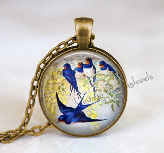 SWALLOW Pendant Necklace Jewelry Vintage Swallow Bird Glass Photo Art, Gift for Bird Lover Blue Bird, Vintage Antique Victorian Swallow Art
