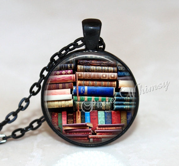 BOOK Pendant Book Necklace Library Jewelry Keychain Librarian Bookshelf Vintage Antique Book Lover Gift for Librarian Bibliophile Bookworm