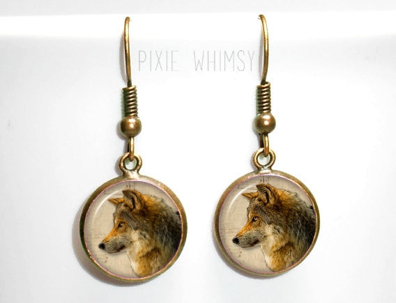 WOLF Earrings, Wolf Dangle Drop Earrings Woodland Nature Animal Glass Dome Photo Art Nature Jewelry Gift for Wolf Lover