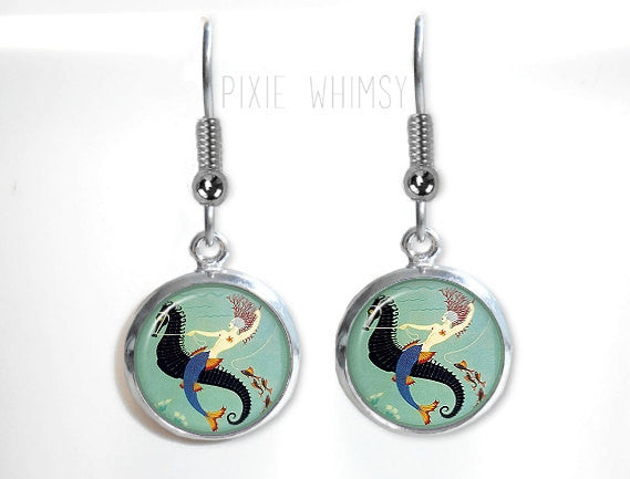 MERMAID Earrings, Mermaid Dangle Drop Earrings, Art Deco Jewelry, Seahorse Dangle Earrings, Glass Dome Earrings Vintage Art Deco Mermaid Art