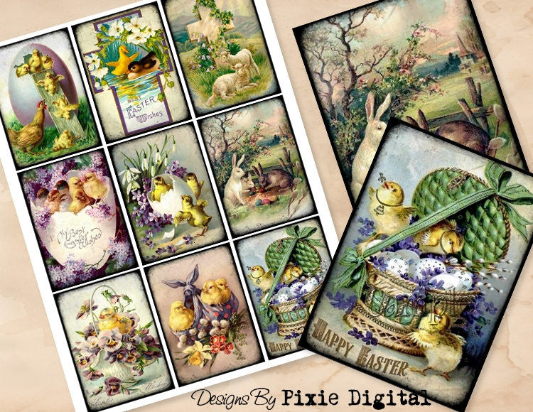 EASTER Rabbit Chick Digital Collage Sheet Download Printable Clipart Images Gift Hang Tags Journal Cards ATC Scrapbooking Vintage Victorian