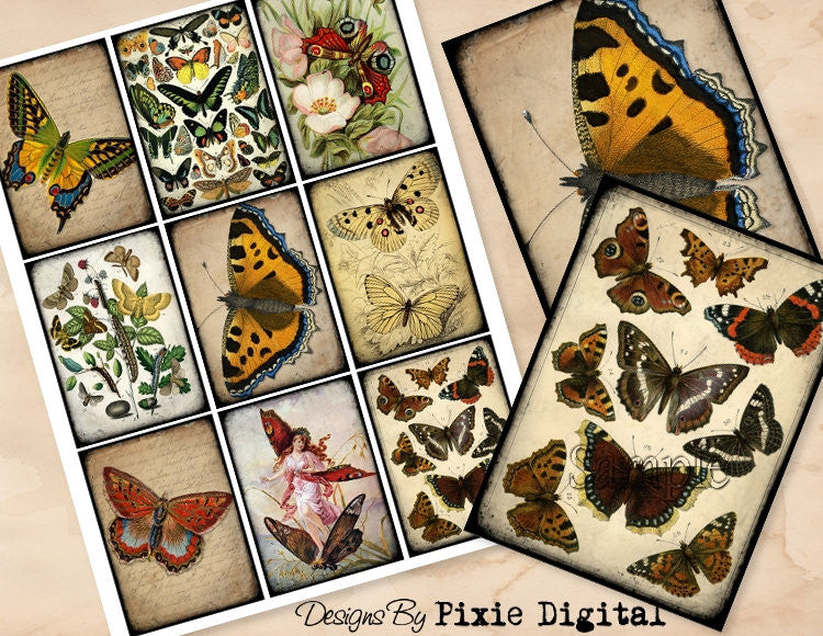 BUTTERFLY Digital Collage Sheet Printable Butterflies Clip Art Vintage Images Download Gift Tags Journal Cards ATC Scrapbooking Graphics