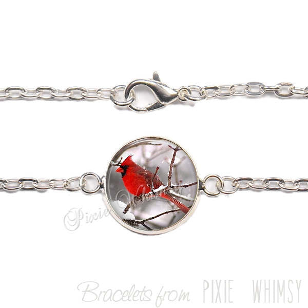 CARDINAL Bracelet, Cardinal Link Bracelet Jewelry, Red Bird, Gift for Mother's Day Bird Lover Birdwatcher, Nature Jewelry, Silver or Bronze