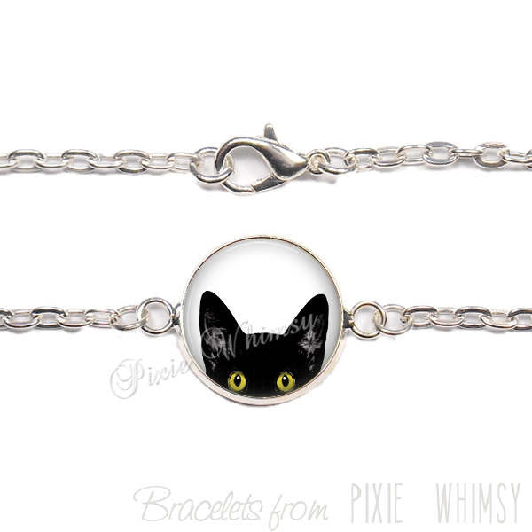 CAT Bracelet, Peeking CatLink Bracelet Jewelry, Tuxedo Cat, Gift for Mother's Day Cat Lover Owner, Kitten Jewelry, Silver or Bronze
