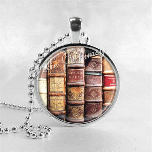 BOOKS Pendant Necklace Library Art Jewelry Reading Book Lover Jewelry, Book Nerd, Antique Books Bookshelf, Gift for Book Lover, Book Club