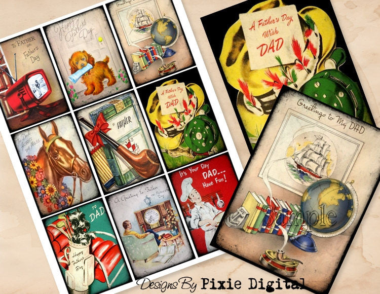 FATHERS DAY Digital Collage Sheet Images Retro Clipart Father Dad Printable Download Hang Tags Journal Cards ATC Scrapbooking Gift Tag
