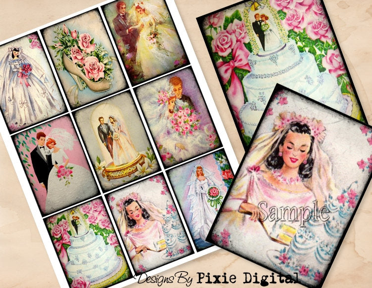 WEDDING Digital Collage Sheet Images Retro Clipart Bride Bridal Shower Printable Download Hang Tags Journal Cards ATC Scrapbooking Gift Tag