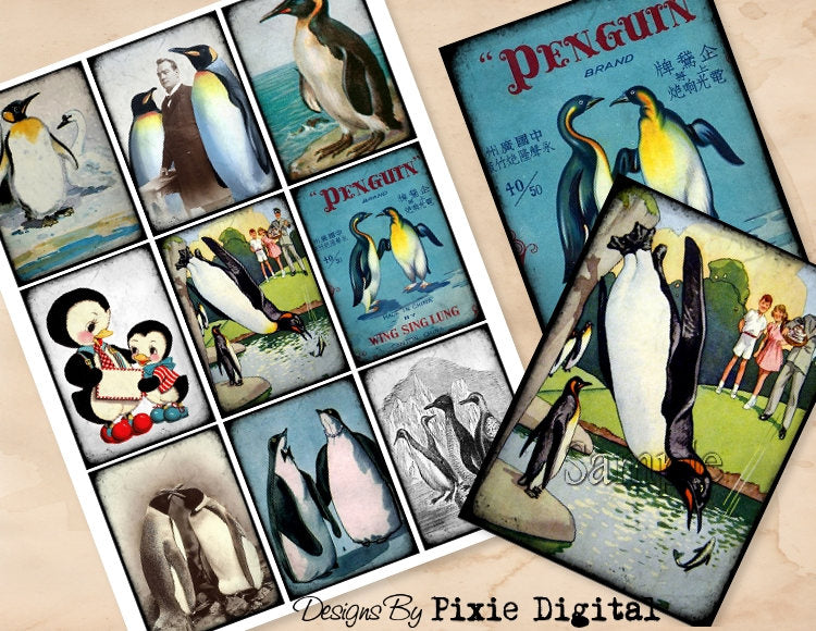 PENGUIN Digital Collage Sheet Download Printable Penguin Bird Vintage Postcard Clipart Gift Hang Tags Journal Cards ATC Scrapbooking Images