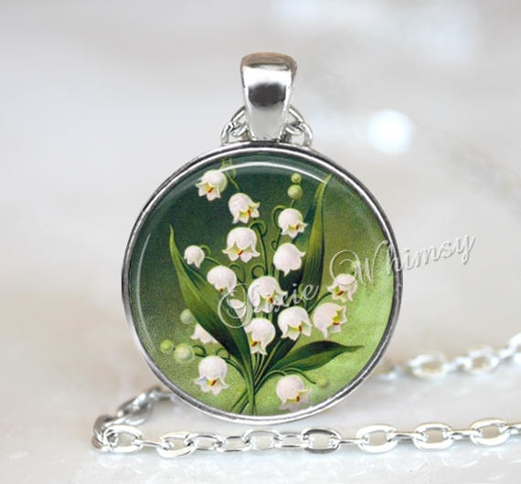 LILY Of The VALLEY Necklace, Lily Pendant, Lily Flower Keychain, Lily Necklace, Pink Lily Pendant, Lily Necklace,Lily of the Valley Jewelry
