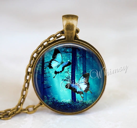 BUTTERFLY Pendant Necklace Keychain Steampunk Blue Butterfly Necklace Steampunk Pendant Jewelry Blue Butterfly, Butterfly Wing