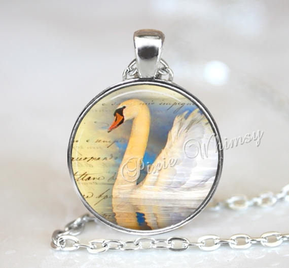 White SWAN Pendant Necklace or Keychain, White Swan Glass Photo Art Jewelry, Gift for Bird Lover,  Altered Art Bird Print Key Ring