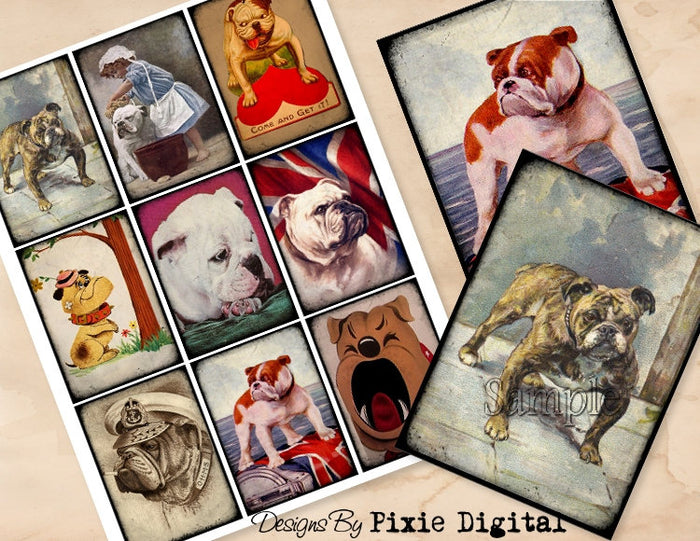 BULLDOG Digital Collage Sheet Download Printable Bull Dog Vintage Postcard Clipart Gift Hang Tags Journal Cards ATC Scrapbooking Images