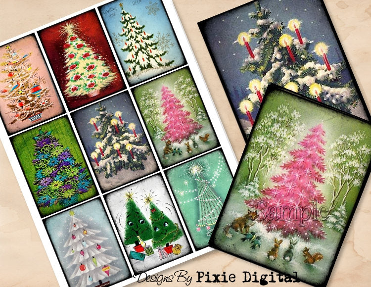 CHRISTMAS TREES Digital Collage Sheet Download Printable Clipart Gift Hang Tags Journal Cards ATC Scrapbooking Vintage Retro Images