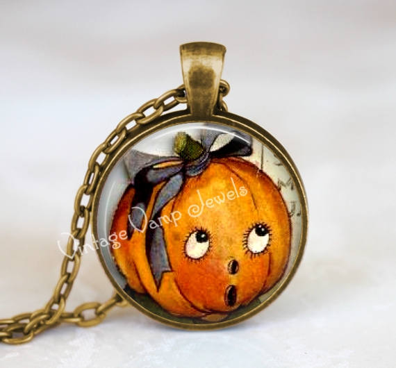 JACK O LANTERN Pendant Necklace, Halloween Jewelry, Pumpkin Necklace, Vintage Halloween jol, Glass Bezel Halloween Art Pendant Necklace