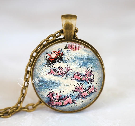 Christmas Necklace, Santa Claus Necklace, Santa Claus Jewelry, Vintage Christmas Necklace, Christmas Jewelry, Santa and Sleigh, Reindeer