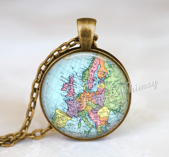 VINTAGE EUROPE Map Necklace Pendant Jewelry  Keychain  World Map Antique Gift for Traveler Wanderlust Gypsy Bohemian Geography Geographical