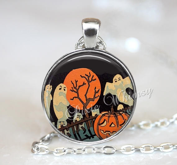 ART DECO HALLOWEEN Ghost Pendant Necklace or Keychain, Halloween Pendant, Ghost Necklace, Full Moon, Retro Halloween Spook