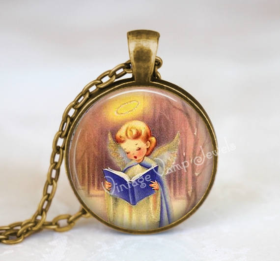 Christmas Angel Necklace, Angel Necklace,Angel Necklace, Christmas Angel Jewelry, Vintage Christmas Necklace, Nostalgia