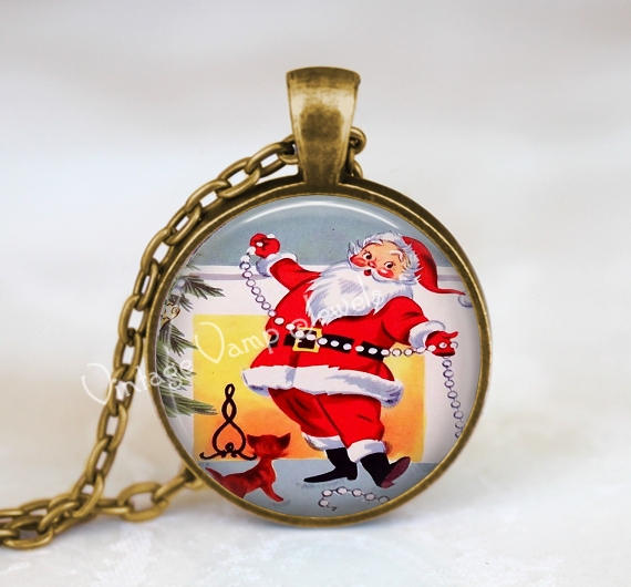 CHRISTMAS Necklace Pendant Jewelry Santa Claus Vintage Christmas Retro Kitsch Glass Bezel Art Pendant Necklace  Christmas Nostalgia 1950s