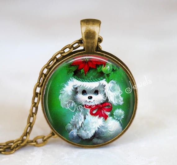 CHRISTMAS Poodle Necklace Pendant Jewelry Vintage Christmas Retro Kitsch Glass Bezel Art Pendant Necklace  Christmas Nostalgia 1950s