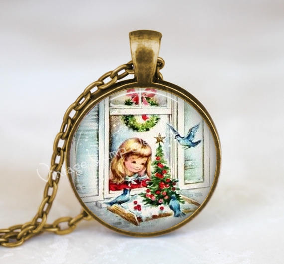 Christmas Necklace, Christmas Girl and Bluebird Necklace, Christmas Jewelry, Vintage Christmas Snow Scene Necklace, Christmas Jewelry