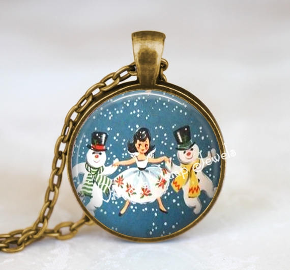 CHRISTMAS Dancing Snowman Snow Scene Necklace, Vintage Christmas Nostalgia, Snowmen, Christmas Scene, Retro Snowman, Seasonal