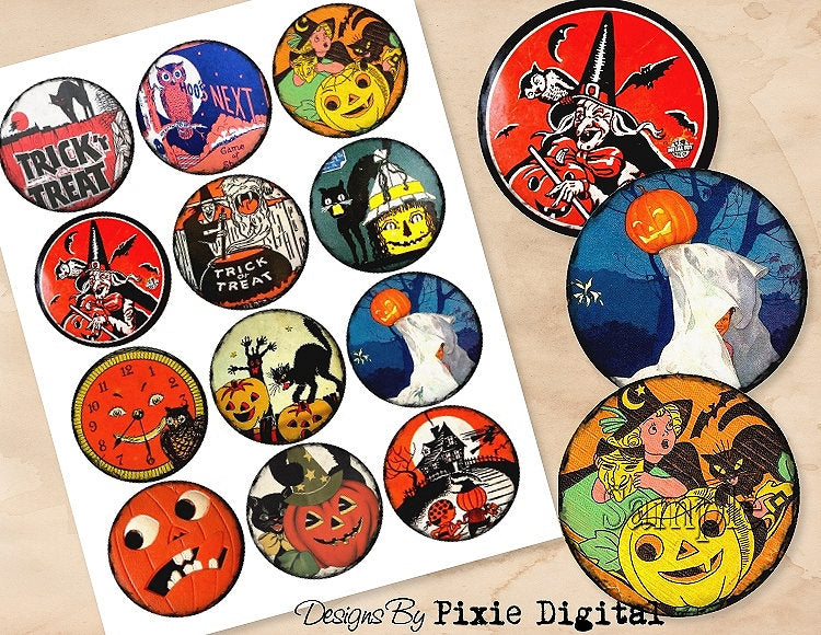 HALLOWEEN Digital Collage Sheet Download 2.5 Inch Circles Printable Clipart Gift Tags Cupcake Topper Scrapbooking Vintage Retro Images