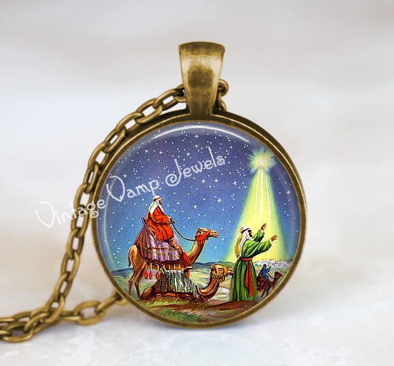 Christmas Necklace, Wise Men Necklace, Magi Jewelry, Vintage Christmas Necklace, Christmas Jewelry, Vintage Christmas Necklace