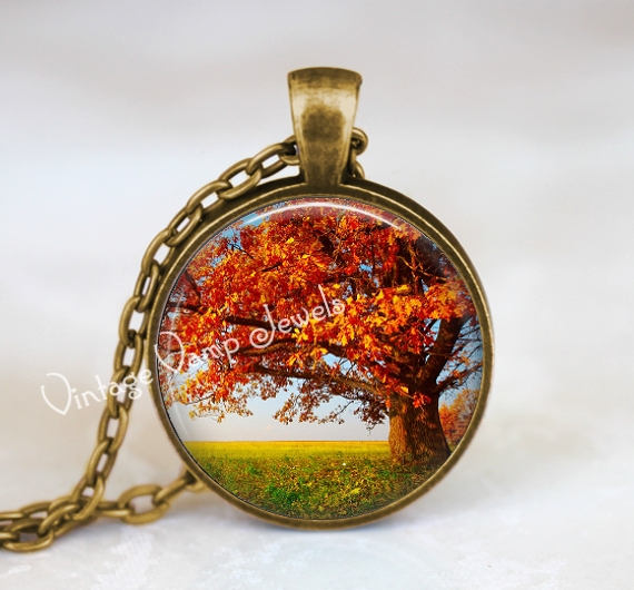 AUTUMN TREE Necklace,Fall Tree Necklace, Tree Jewelry, Tree Pendant,  Fall Tree Leaves Pendant