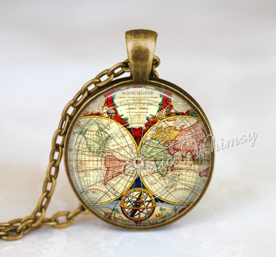 ANTIQUE WORLD MAP Necklace, Map Necklace, Map Jewelry, Old World Map Pendant, Vintage Map, Glass Photo Art Necklace Pendant Charm