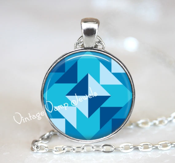 Blue Quilt Necklace, Shades of Blue Quilt Square, Seamstress Jewelry, Gift for Quilter, Geometric