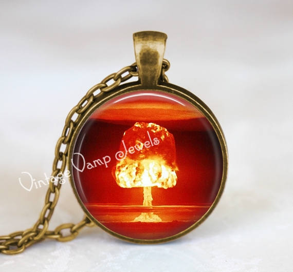 ATOMIC BOMB Pendant Necklace, Science Scientific  Jewelry, Gift for Geek, ,War  History Jewelry, Atomic, Nuclear, Neutron, Atom