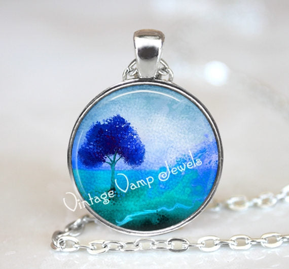 Blue Watercolor TREE Necklace, Artist Tree Necklace, Tree Jewelry, Tree Pendant,  Blue, Aqua Tree Art