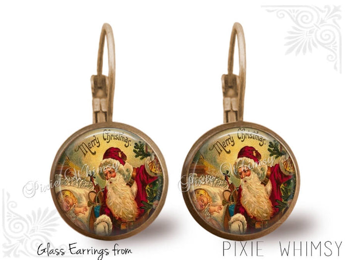 CHISTMAS Earrings, Santa Claus Dangle Drop or Leverback Earrings Glass Dome Photo Art Nature Jewelry Victorian Santa, Old World Santa