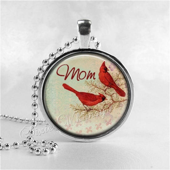 CARDINAL Necklace, Cardinal Bird Necklace, Cardinal Jewelry, Red Bird, Mom, Mom Word Necklace, Glass Photo Art Necklace, Bird