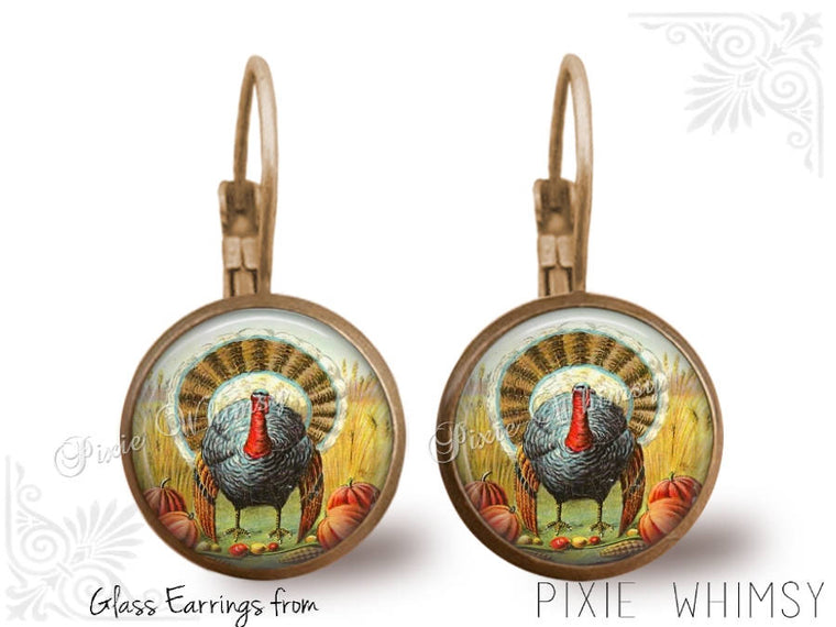 THANKSGIVING Earrings, Thanksgiving Turkey Dangle Drop or Leverback Earrings Glass Dome Photo Art Nature Jewelry Victorian Turkey,