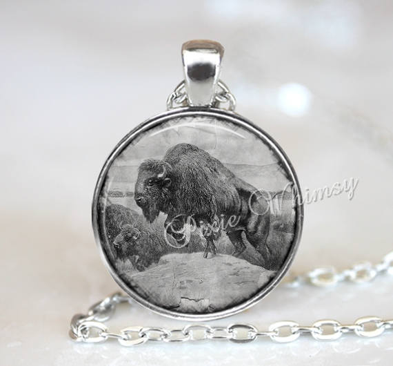 BUFFALO Pendant Necklace Jewelry or Keychain, Vintage Antique Buffalo Print, Bison Necklace, Bison Jewelry, Buffalo Art Print, Bison Pendant